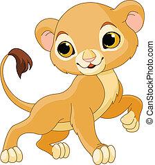 Brave  Lion Cub - Brave cute Lion Cub of a white background