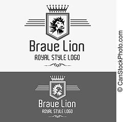Brave Lion Heraldic Royal Luxurious Crest Logo