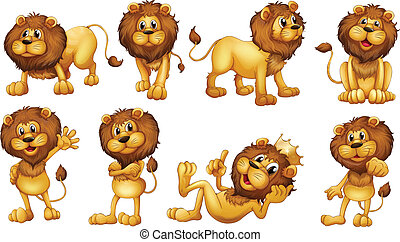 Illustration of the brave lions on a white background