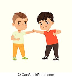 Brave litlle boy trying to stop the bully who is fighting vector Illustration on a white background