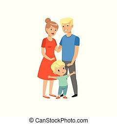 Brave little boy defending his parents vector Illustration on a white background