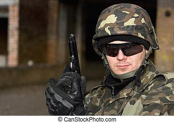 Brave man with a gun