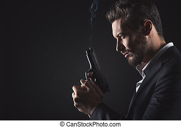 Brave man with handgun