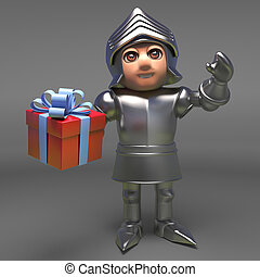 Brave medieval knight in armour holding a gift wrapped present, 3d illustration