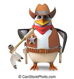 Brave penguin sheriff the lone cowboy smokes on a peace pipe, 3d illustration render