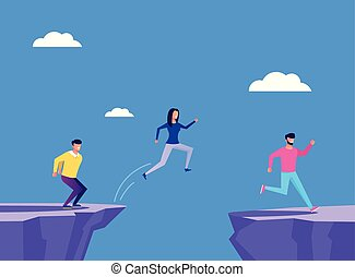 Brave people businessmen office workers characters jump across the cliff. Business strategy concept. Vector flat cartoon graphic design illustration