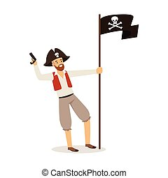 Brave pirate character with Jolly Roger flag vector Illustration