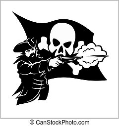 Brave pirate with pistol - isolated on a white background