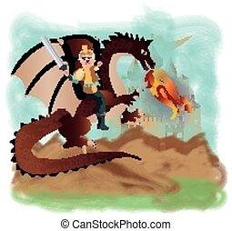 Brave prince and magic dragon, vect