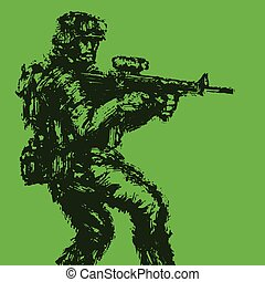 Brave soldier with rifle in action. Vector illustration.
