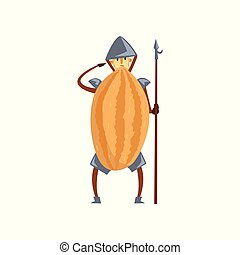 Brave warrior melon cartoon character with spear, man in fruit costume vector Illustration on a white background