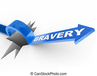 Bravery Arrow Jumping Over Hole Courage Helps Survive