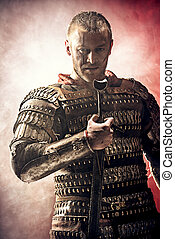 bravery - Portrait of a courageous ancient warrior in armor...