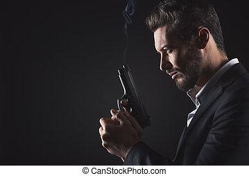 bravos, handgun, homem
