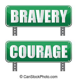 bravoure, signe, route, courage, &