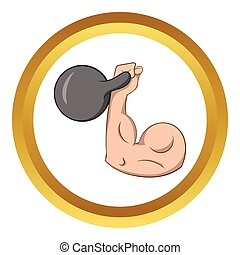 Brawny arm with dumbbell vector icon in golden circle,...