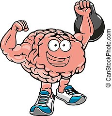 Brawny brain with muscles lifting weights - Brawny cartoon...