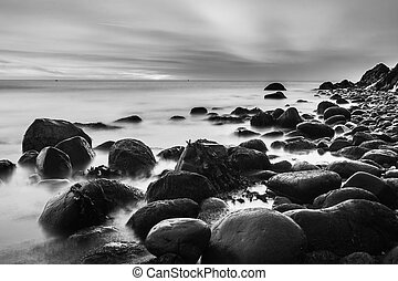 Bray Head and the Irish Sea in black and white long exposure image