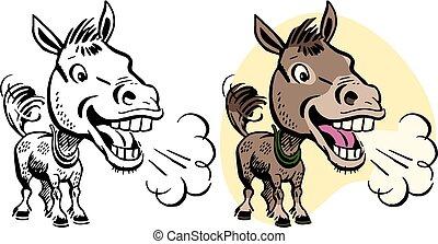 A cartoon of a happy braying donkey.