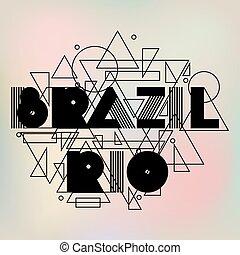 brazília, és, rio, alatt, elvont, geometriai, style., tervezés, helyett, nyomtat, képben látható, trikó, természetjáró brochure, hirdetés, transzparens
