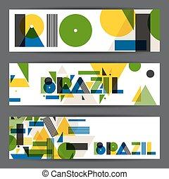 brazília, és, rio, szalagcímek, alatt, elvont, geometriai, style., tervezés, helyett, befed, természetjáró brochure, hirdetés, háttér