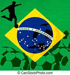brazília, 2014, brazil zászló, helyett, egy, nemzetközi foci, /, futball, bajnokság