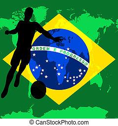 brazília, 2014, brazil zászló, vektor, ábra, helyett, egy, nemzetközi foci, /, futball, bajnokság