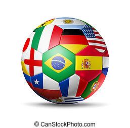 brazília, 2014, focilabda, noha, világ, brigád, zászlók