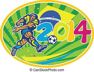 brazília, 2014, futball foci, játékos, rúgás, labda