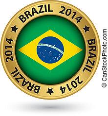 brazília, 2014, labdarúgás, világbajnokság, arany, címke, vektor, ábra