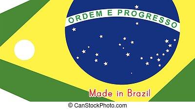 brazília, elkészített, szó, ár, elszigetelt, ábra, háttér., lobogó, címke, vektor, fehér