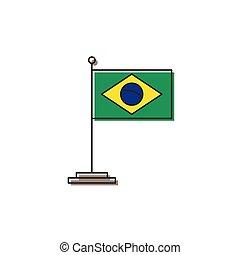 brazília, elszigetelt, lobogó, vektor, háttér, fehér, ikon