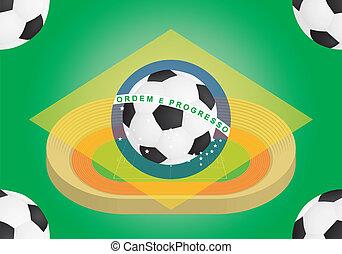 brazília, felett, labdarúgás, lobogó