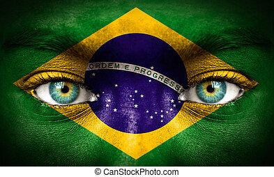 brazília, festett, lobogó, emberi arc
