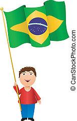brazília, fiú, lobogó, vektor, ábra