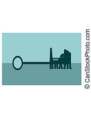 brazília, fogalom, vektor, kulcs, ábra