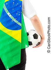 brazília, futball, támaszték, labda