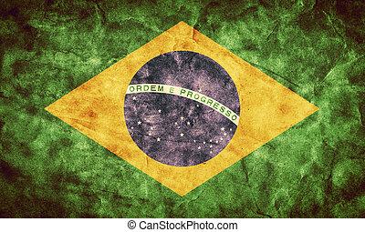 brazília, grunge, flag., szüret, cikk, zászlók, retro, ...