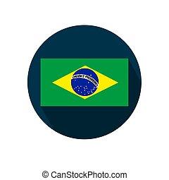 brazília, illustration., háttér., lobogó, vektor, fehér