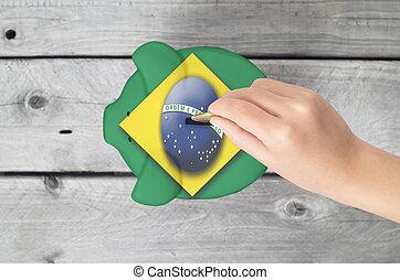 brazília, kevés, fogalom, megmentés, pigg, kéz, csöpögés, érme