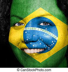 brazília, nő, neki, előadás, festett, eltart, arc, lobogó