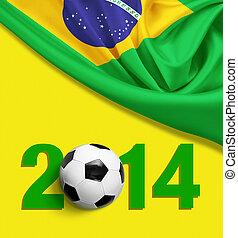 brazília, sárga, háttér., lobogó, év, 2014, digits.
