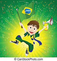 brazília, sport, rajongó, noha, lobogó, és, szarv