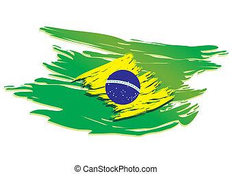 brazília, stilizált, lobogó