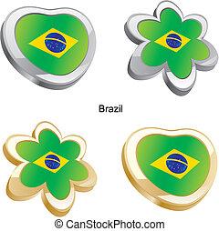 brazília, szív, lobogó, virág