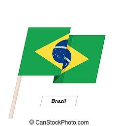 brazília, szalag, lenget lobogó, elszigetelt, képben látható, white., vektor, illustration.