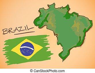 brazília, térkép, és, nemzeti lobogó, vektor