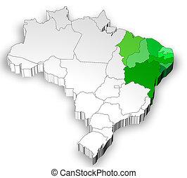 brazília, térkép, észak, vidék, 3 dimensional