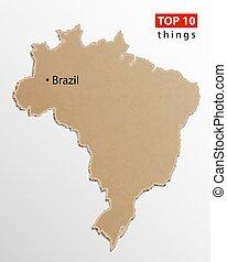 brazília, térkép, ügy utazik, hajó, kreatív, texture., infographics., dolgozat, sablon, concept.