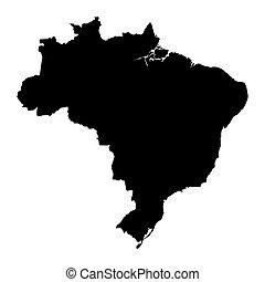 brazília, térkép, fekete
